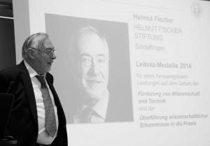 Dankrede von Herrn Helmut Fischer für die Auszeichnung mit der Leibniz-Medaille, Foto: D. Linke