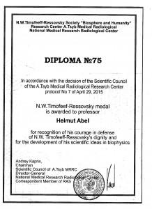 Timoféeff-Ressovsky-Medaille für Helmut Abel 2015
