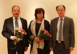 Am 28.01.2016 gewählte Vizepräsidenten der Leibniz-Sozietät; v.l. Bernd Meier, Dorothee Röseberg, Präsident Gerhard Banse; Foto: D. Linke